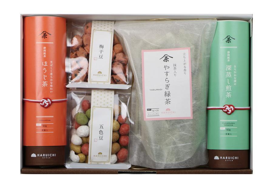 日本茶ティーバッグ1袋+筒2本+豆菓子2袋 セット